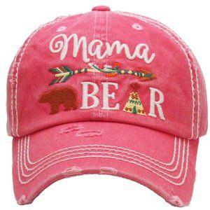 Mama Bear Pink Distressed Adjustable Baseball Hat